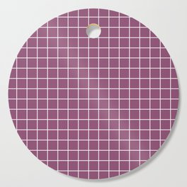 Sugar Plum - violet color - White Lines Grid Pattern Cutting Board
