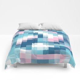 Mat Map Squares Aqua Comforters