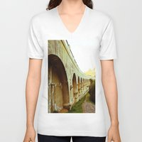 hollywood V-neck T-shirts featuring Hollywood Reservoir by Kim Ramage