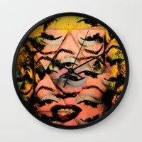 marylin monroe Wall Clocks featuring Monroe by David