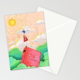 Cute Girl Painting Scenery Stationery Cards
