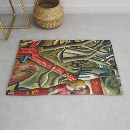 1924 Classical Masterpiece 'The Magical Garden Enclosed' portrait painting by David Jones Rug