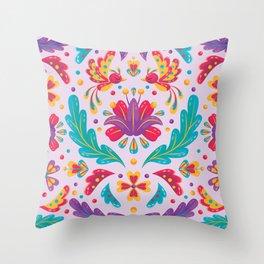 Tropical Folk Pattern  Throw Pillow