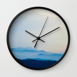 Minimalist Landscape Blue Mountain Parallax Wall Clock