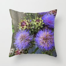 Purple Blooms Throw Pillow