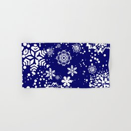 Deep navy blue background decorated with snowflakes. Hand & Bath Towel