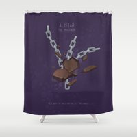 league Shower Curtains featuring League of Legends: Alistar by Monstruonauta