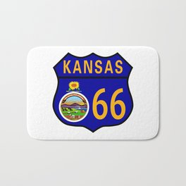 Route 66 Kansas Sign and Flag Bath Mat