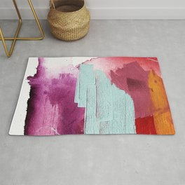 Desert Daydreams [3]: a colorful abstract mixed media piece in purple blue pinks and orange Rug