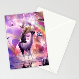 Rainbow Laser Cat On Llama Unicorn Eating Taco Stationery Cards