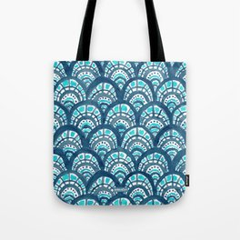 JEWELED SCALES Mermaid Watercolor Tote Bag
