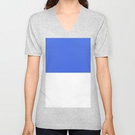 White and Royal Blue Horizontal Halves Unisex V-Neck