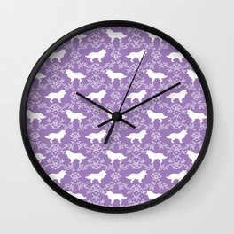 Border Collie silhouette minimal floral florals dog breed pet pattern purple and white Wall Clock