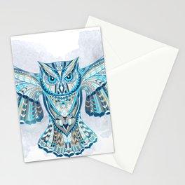 Blue Ethnic Owl Stationery Cards