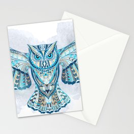 Blue Ethnic Owl Stationery Cards