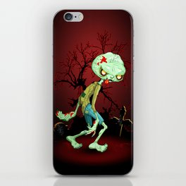 Zombie Creepy Monster Cartoon on Cemetery iPhone Skin