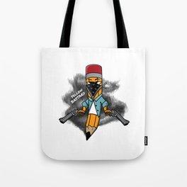 Gangsta pencil with guns illustration. Yellow pen with bandana mask on face, criminal t-shirt print. Tote Bag