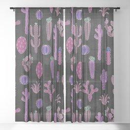Cactus Pattern On Chalkboard Sheer Curtain