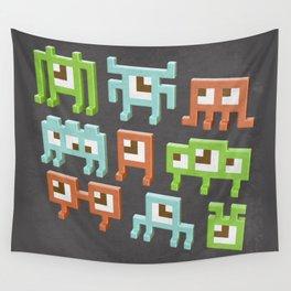 3D pixel aliens Wall Tapestry