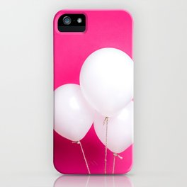 White balloons on pink backdrop iPhone Case