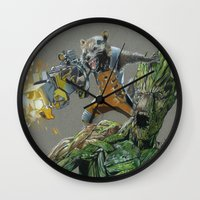 guardians of the galaxy Wall Clocks featuring Guardians by theMAINsketch