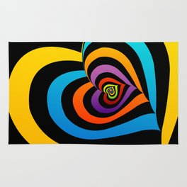 Valentine hearts twirling in rainbow colors Rug