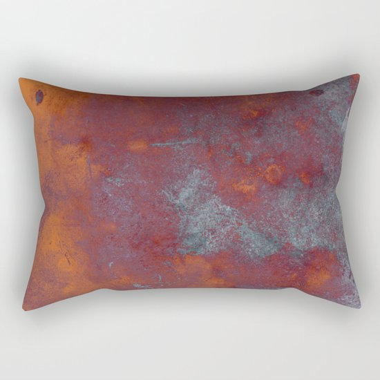 Cracked Amber - Textured abstract painting in amber and blue Rectangular Pillow