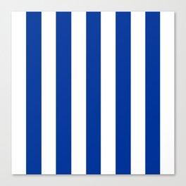 Dark powder blue - solid color - white vertical lines pattern Canvas Print