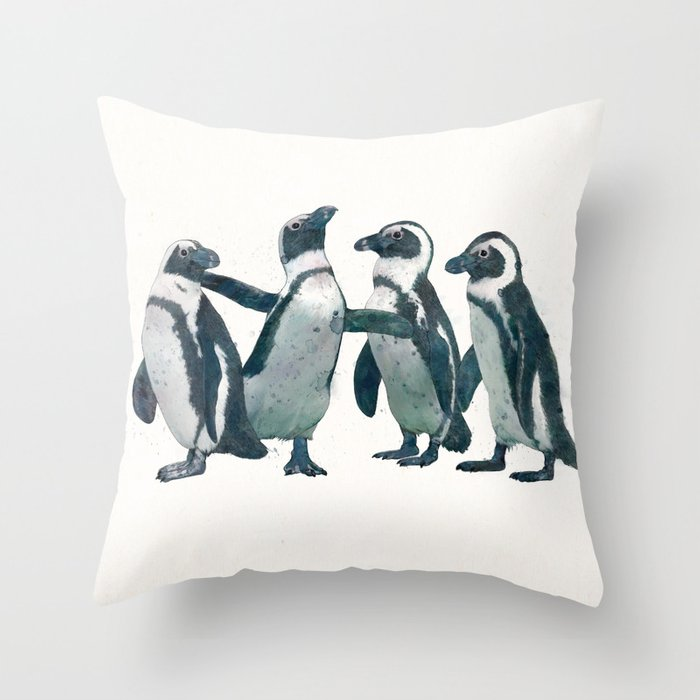 penguin party Throw Pillow