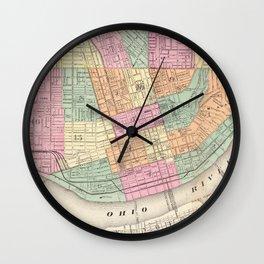 Vintage Map of Cincinnati OH (1872) Wall Clock