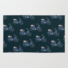 Vintage chic black hand painted blue bicycle pattern Rug