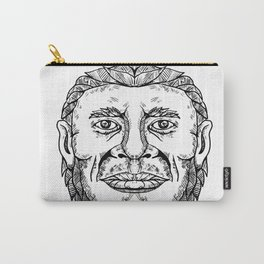Neanderthal Male Head Doodle Art Carry-All Pouch