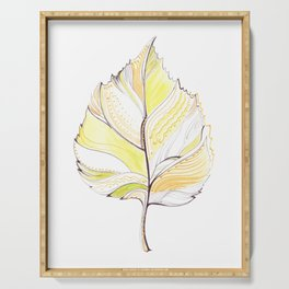 Decorative drawing of a birch leaf Serving Tray