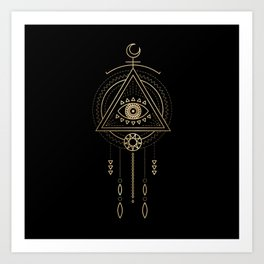 Mandala Tribal Eye Copper Bronze Gold Art Print