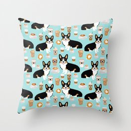 Welsh Corgi tri colored coffee lover dog gifts for corgis cafe latte pupuccino Throw Pillow