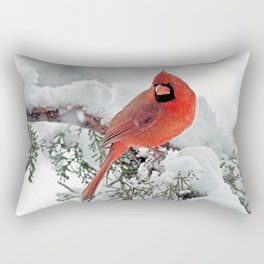 Cardinal on Snowy Branch (sq) Rectangular Pillow