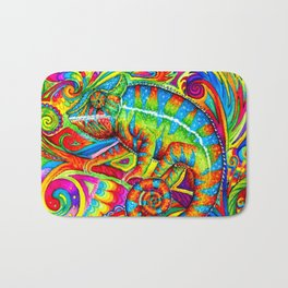 Psychedelizard Colorful Psychedelic Chameleon Rainbow Lizard Bath Mat
