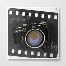 Camera Vintage: see the world in a lens Metal Print