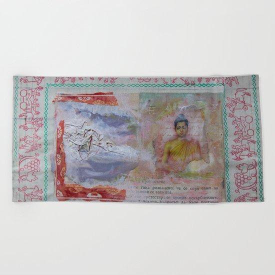 Buddha Collage - JUSTART (c) Beach Towel