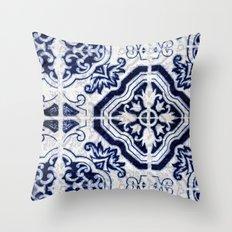 blue tile pattern VII - Azulejos, Portuguese tiles Throw Pillow