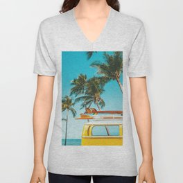 Yellow Van Down by the Sea Unisex V-Neck
