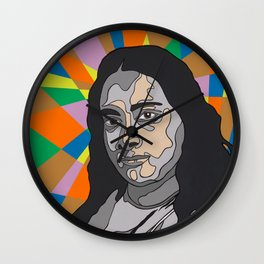 """YOGANANDA"" Montana Gold Spray Paint and acrylic on birch panel 20"" x 24"" x 2""  Wall Clock"