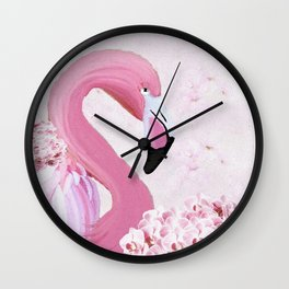 PINK FLAMINGO AND ORCHID OIL PAINTING Wall Clock