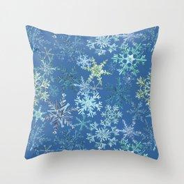icy snowflakes on blue Throw Pillow