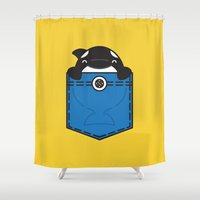 pocket fuel Shower Curtains featuring Pocket Whale by Steven Toang