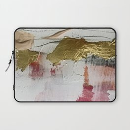 Untranslated Stars: a minimal, abstract piece in gold, pink, and white by Alyssa Hamilton Art Laptop Sleeve