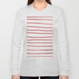 Simply Drawn Stripes Warm Rose Gold on White Long Sleeve T-shirt