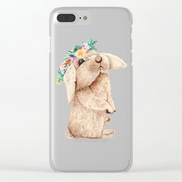 Pretty Floral Garland Bunny Clear iPhone Case