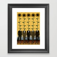 Sunflowers In Suits Print Framed Art Print