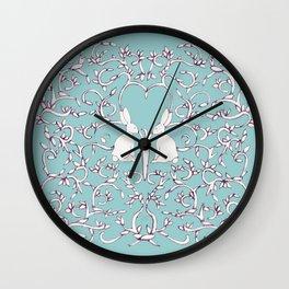 Green Blue Rabbits Leaves Wall Clock